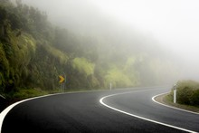 Curvy Street In The Fog With M...