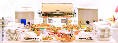 Fototapeta catering table set service with silverware obraz