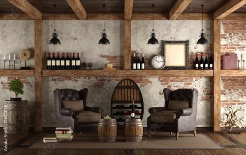 Foto Home wine cellar in retro style