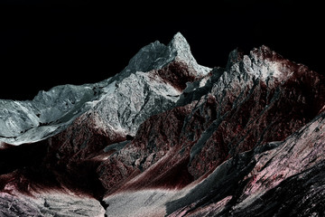 Obraz na SzkleInfrared and solarized photo of beautiful, otherworldly, fantasy world like alp mountains in Swiss alps