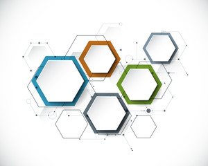 FototapetaVector molecule with 3D paper label, integrated Hexagon background. Blank space for content, business, infographic, diagram,digital network, flowchart. Social network connection technology concept