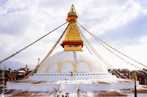 Poster Nepal Bodhnath Stupa in Kathmandu with Buddha Eyes, Nepal. The stupa's massive mandala makes it one of the largest spherical stupas in Nepal.