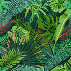 Panel SzklanyVector seamless pattern with green tropical palm, monstera leaves. Nature background. Summer or spring trendy design elements for fashion textile prints and greeting cards.