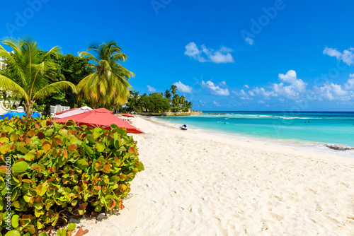 Dover Beach - tropical beach on the Caribbean island of Barbados Canvas Print