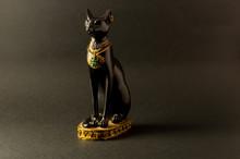 Egyptian Black Bastet Cat Figu...