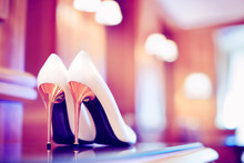 Trendy Ultraviolet Toned Picture Of Bridal Stiletto Heel Shoes