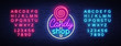 Candy shop logo in neon style. Store sweets neon sign, banner light, bright neon night sweets advertising. Design template for your projects. Vector illustration. Editing text neon sign