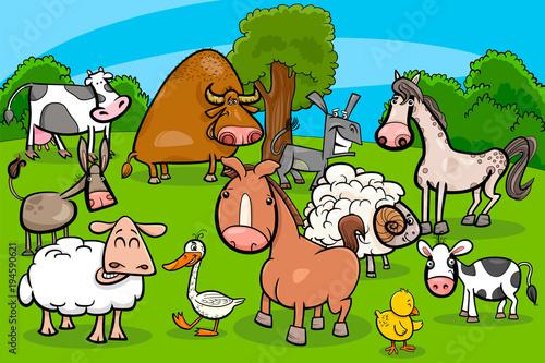 Deurstickers Pony cartoon farm animal characters group