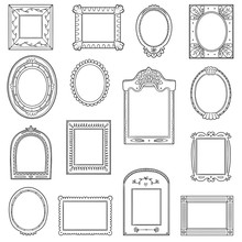 Vector Black And White Set Of Frames. Hand Drawn Cartoon Photo Frames