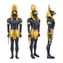 Egyptian God Horus Statue Isol...