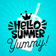 Hello Summer yummy Colorful logo emblem ray shine Label poster stickers food jar smoothie sketch style fresh healthy ice cream organic. Hand drawn vector illustration.