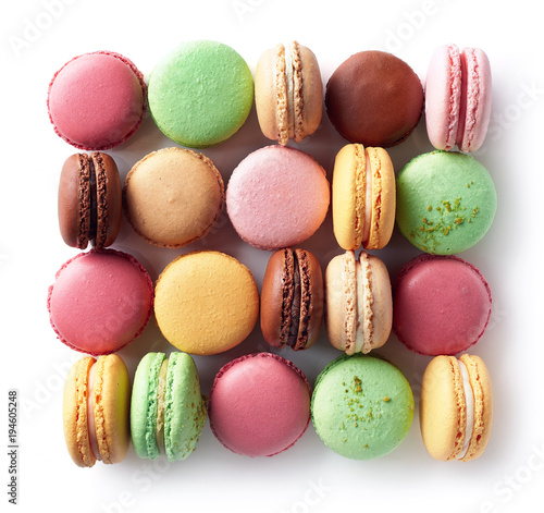 Aluminium Prints Macarons Colorful french macarons on white background
