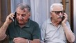 Two elderly men engage in telephone conversations with their smart phones