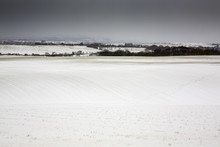 View Across Fields From Morley Leeds West Yorkshire After Snowfall