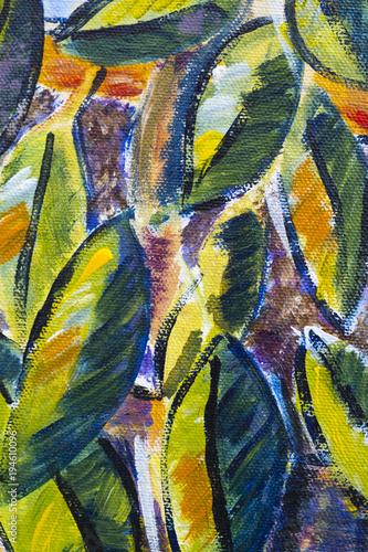 Láminas  Vibrant multi-colored original oil painting close up detail showing brushwork an