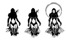 Priestess Warrior Fantasy Silhouettes Isolated