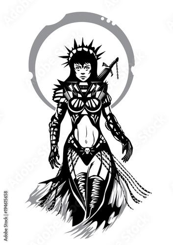 Fotografía Priestess warrior fantasy silhouette illustration