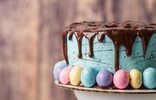 Blue Chocolate Drip Easter Cake