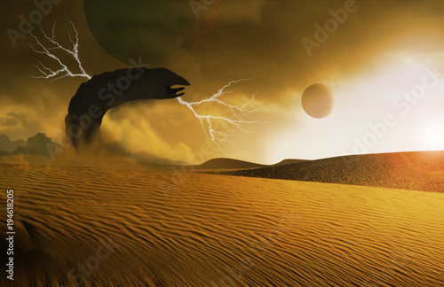 Photo giant worm rising from sand on desert planet