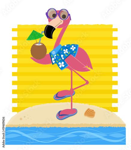 ac013a5eb797 Flamingo At The Beach - Flamingo wearing sunglasses