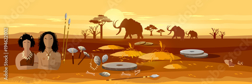 Cave man and cave woman banner Wallpaper Mural