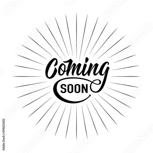 Coming soon sign isolated on white background with explosion burst rays Canvas Print