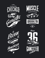 Vintage Classic Gangster, Muscle Car Vector Tee-shirt Logo Isolated Set. Premium Quality Old Sport Vehicle Logotype T-shirt Emblem Illustration. American Street Wear Superior Retro Tee Print Design.