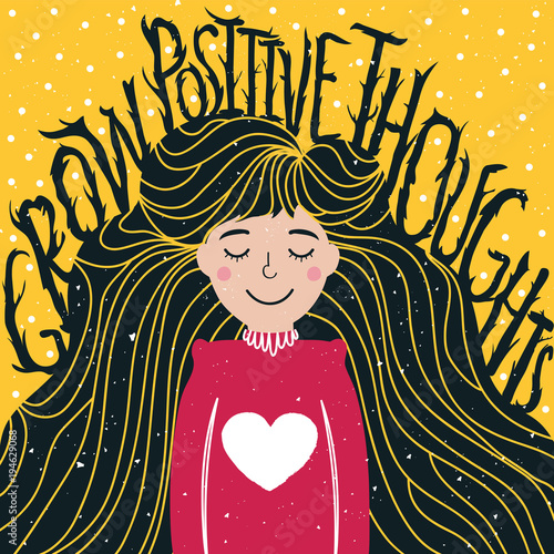 Vector illustration with long hair young woman and lettering inspirational quote - Grow Positive Thoughts Canvas Print