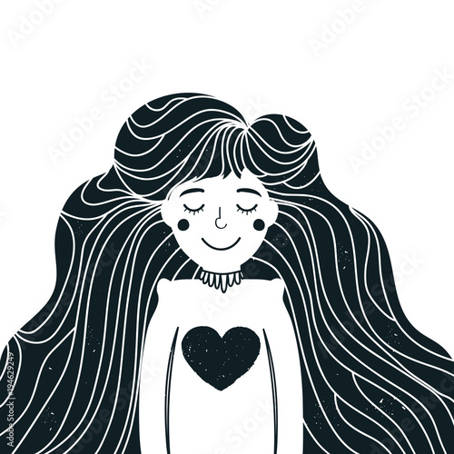 Photo  Vector illustration with cute long hair young woman with heart.