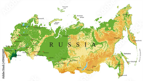 Russia relief map Wallpaper Mural
