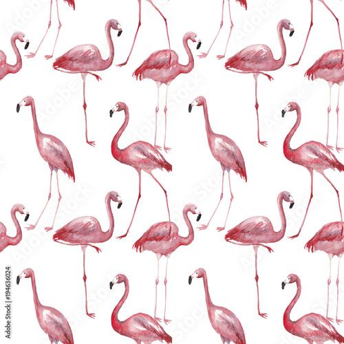 Canvas Prints Flamingo Bird Watercolor flamingo seamless pattern