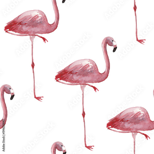 Canvas Prints Flamingo Bird Watercolor tropical seamless pattern with flamingo