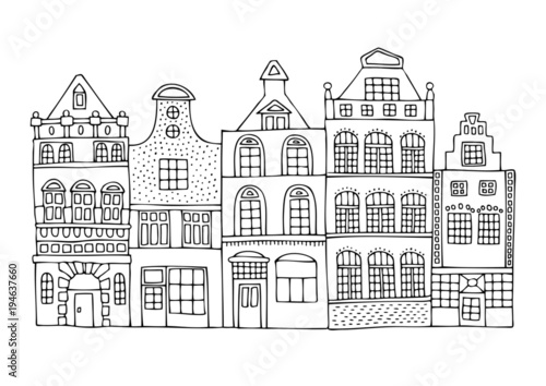 Foto  A hand drawn history street from a Dutch city