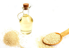 Sesame Oil In A Glass Bottle A...