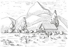 Hand Drawn Mountain Landscape....