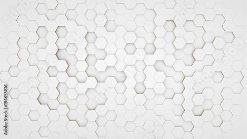 Obraz Clear pattern abstract background hexagon white - fototapety do salonu