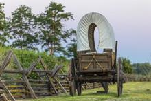 Walla Walla, Washington State. USA. Historic Replica Wagon Along The Oregon Trail At Whitman Mission National Historic Site.