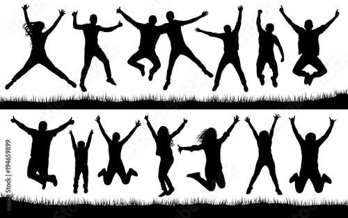 Obraz People jumping, friends man and woman set. Cheerful girl and guy silhouette collection vector. Fun Icon - fototapety do salonu