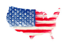 USA America Map Flag Art Paint...