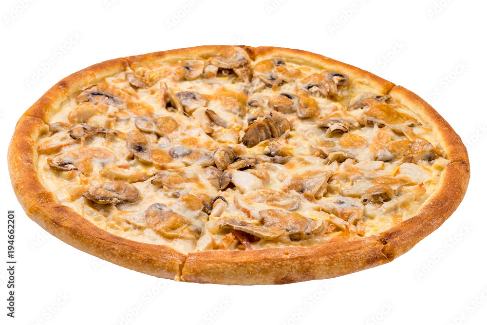pizza with chicken and mushrooms isolate