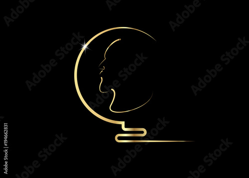 Music Literature Award Man Head Gold Profile Golden Coin