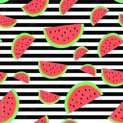 Cotton fabric Vibrant stripe watermelon background