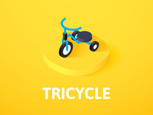Tricycle Isometric Icon, Isolated On Color Background
