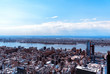 New York City, United States of America - April 12, : Manhattan downtown skyline with Empire State Building and skyscrapers seen from Top of the Rock observation deck on April 12, 2015.