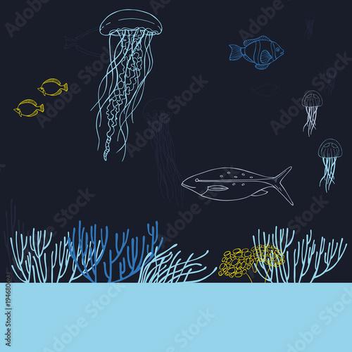 Fotografie, Obraz  Underwater world. Jellyfish, fish and corals. Vector background