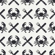 Flat Line Vector Seamless Pattern Crab, Cutlery, Fork, Knife. Simplified Retro. Cartoon Style. Cancer. Omar. Seafood Delicacy. Shell. Claw. Crustacean. Illustration For Your Design And Wallpaper.