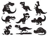 Fototapeta Dinusie - Dinosaurs vector dino silhouette animal tyrannosaurus t-rex danger creature force wild jurassic predator prehistoric extinct illustration.