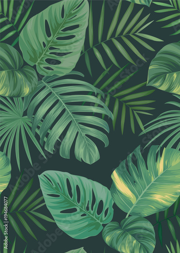 Tropical seamless pattern with palm leaves background. Vector set of exotic tropical garden for holiday invitations, greeting card and fashion design. - 194684077