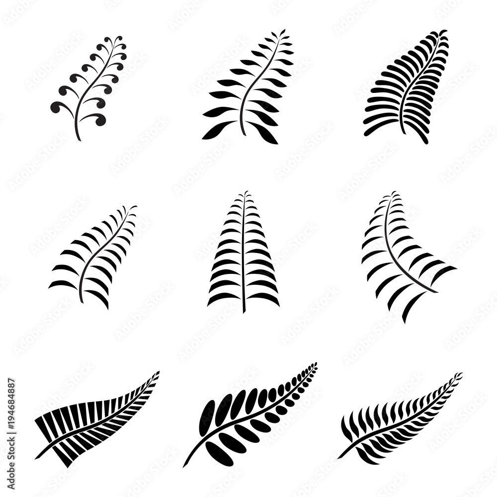 Fototapeta New Zealand Fern Leaf Tattoo and Logo with Maori Style Koru Design