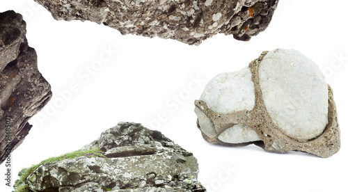 Fotografija  set of natural rock isolated on white background